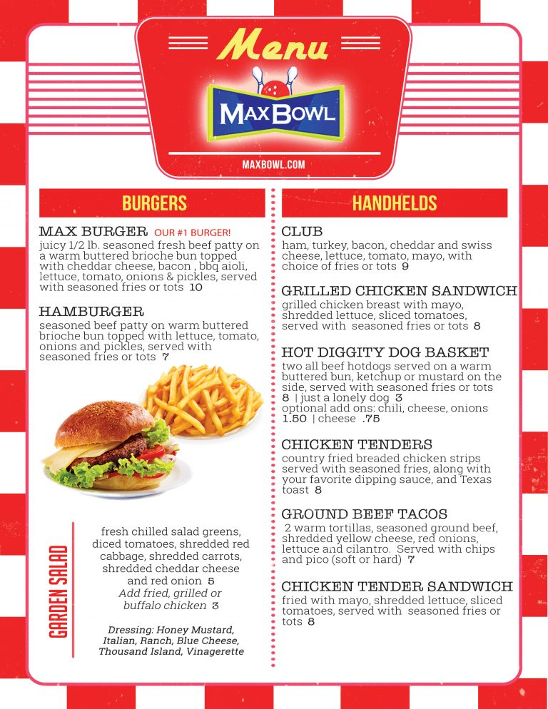 Burgers and Sandwiches at MaxBowl